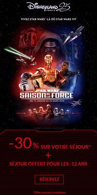 Disneyland Saison de la Force jusqu'à -30%