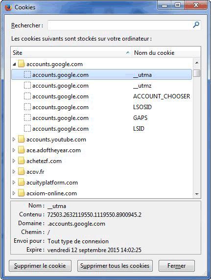 Fenêtre de gestion des cookies sur Firefox